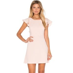 BCBGENERATION Blush Pink RUFFLE OPEN BACK DRESS